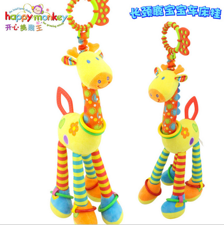 46cm giraffe rabbit bed bells infant toy ultra long hanging giraffe baby toys rattle bed