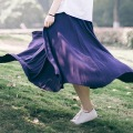 Women A-line Skirts Mori girl Literary A-line umbrella Skirt High waist Solid Color Skirts Cute Big hem