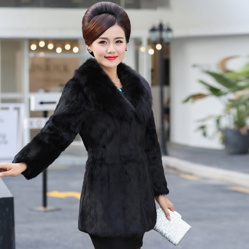 Large Real Fox Fur Collar Women's Rabbit Fur Coats Outerwear Women 9/10 Sleeve Slim Waist Winter Natural Fur Jackets Plus Size