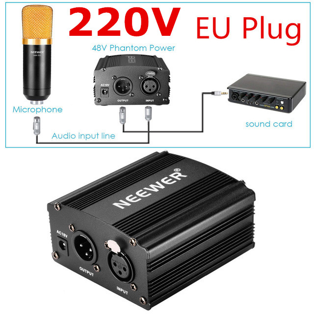 Neewer EU Plug 220V 1 Channel 48V Phantom Power Supply Adapter One XLR Audio Cable for