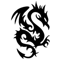 10.9cm*16.1cm Dragon Face Fashion Vinyl Stickers Decals Car Accessories Black/Silver S3-5320