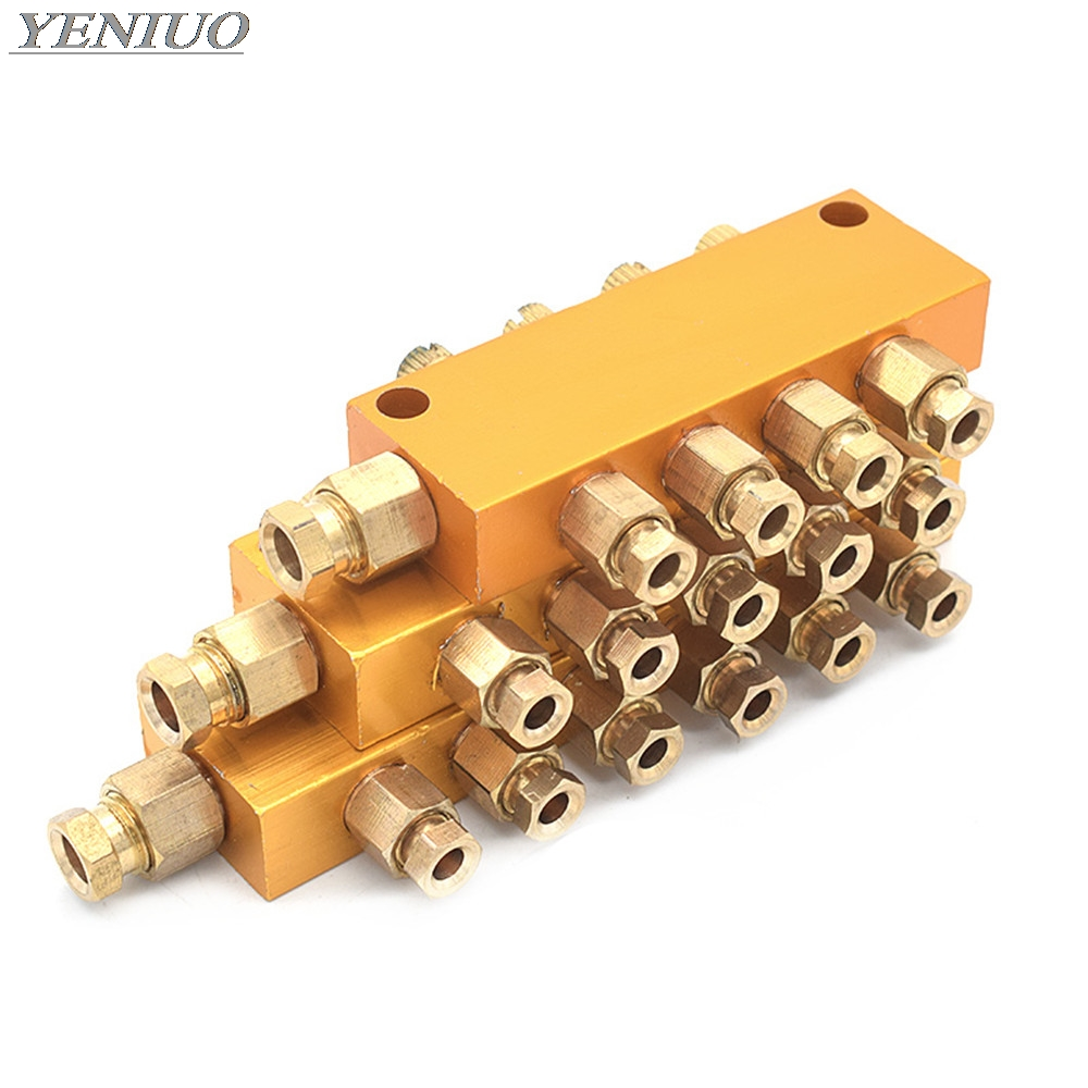 lubrication valve Brass Adjustable Lube Oil Distributor Value Manifold Block 2/3/4/5/6/7/8/9/10 Way