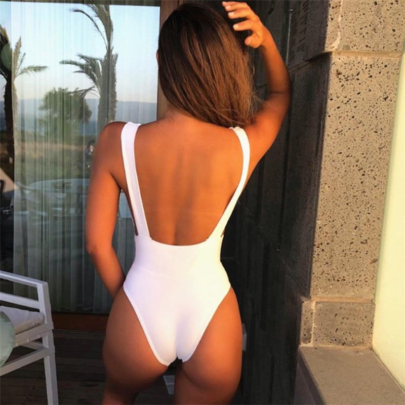 051f2fd04 Sexy 2019 One Piece Swimsuit Female Solid Backless High Cut Bandage Black  Women Swimwear Brazilian Monokini Bathing Suit-in Body Suits from Sports ...