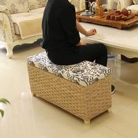 Творческий хранения стула, пуфик украшение дома мебель для хранения плетеное кресло из ротанга двери скамья детей взрослый стул
