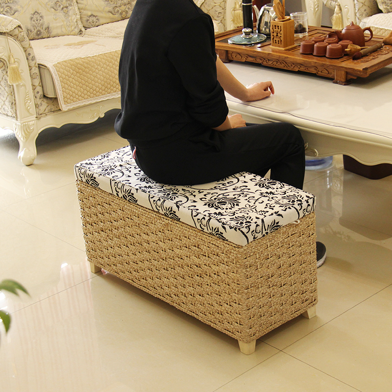 Creative Storage Stool Ottoman Home Decoration Furniture Storage Rattan  Wicker Chair Door Bench Kids Children Adult