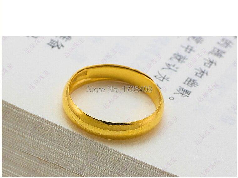 Bague anneau lisse pour hommes | Bague en or jaune 24K, bracelet authentique, massif 999, 4.02g