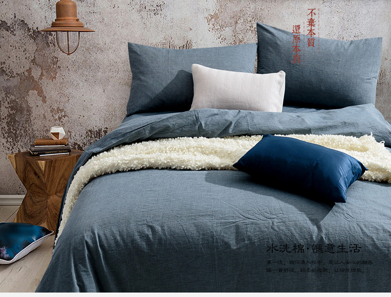 Home Textile Pure Navy Blue Solid Bedding Set Duvet Cover Flitted Bed Sheet  Pillowcase Set Bed Linens Bedclothes In Bedding Sets From Home U0026 Garden On  ...