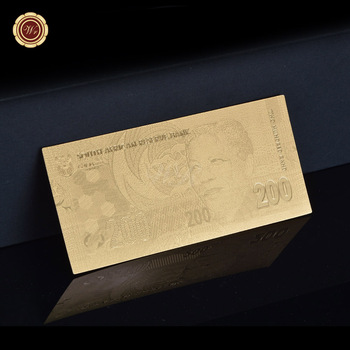 South Africa NELSON MANDELA - 200 RAND 99.9% 24K Gold Plated Banknote Wholesale image