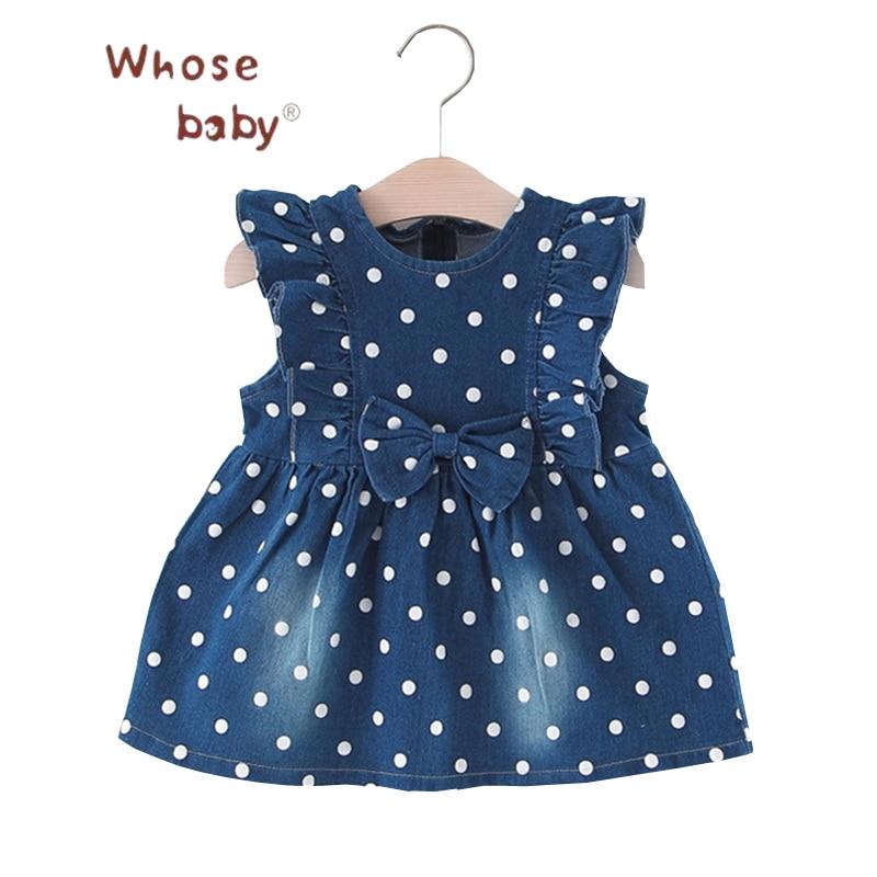Baby Clothing Dress Toddler Girls Summer Dresses Dots Denim Dress for Girls Bow Flying Newborn Clothes Casual Vestido Infantil