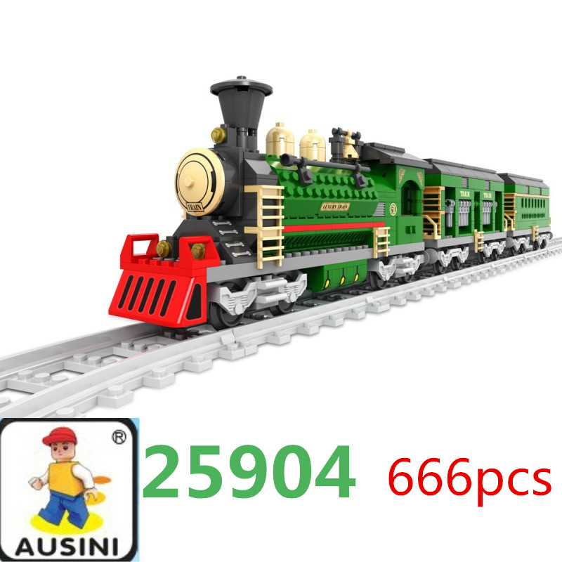 AUSINI 50 PCS Railroad Train Tracks Building Block Toys Set