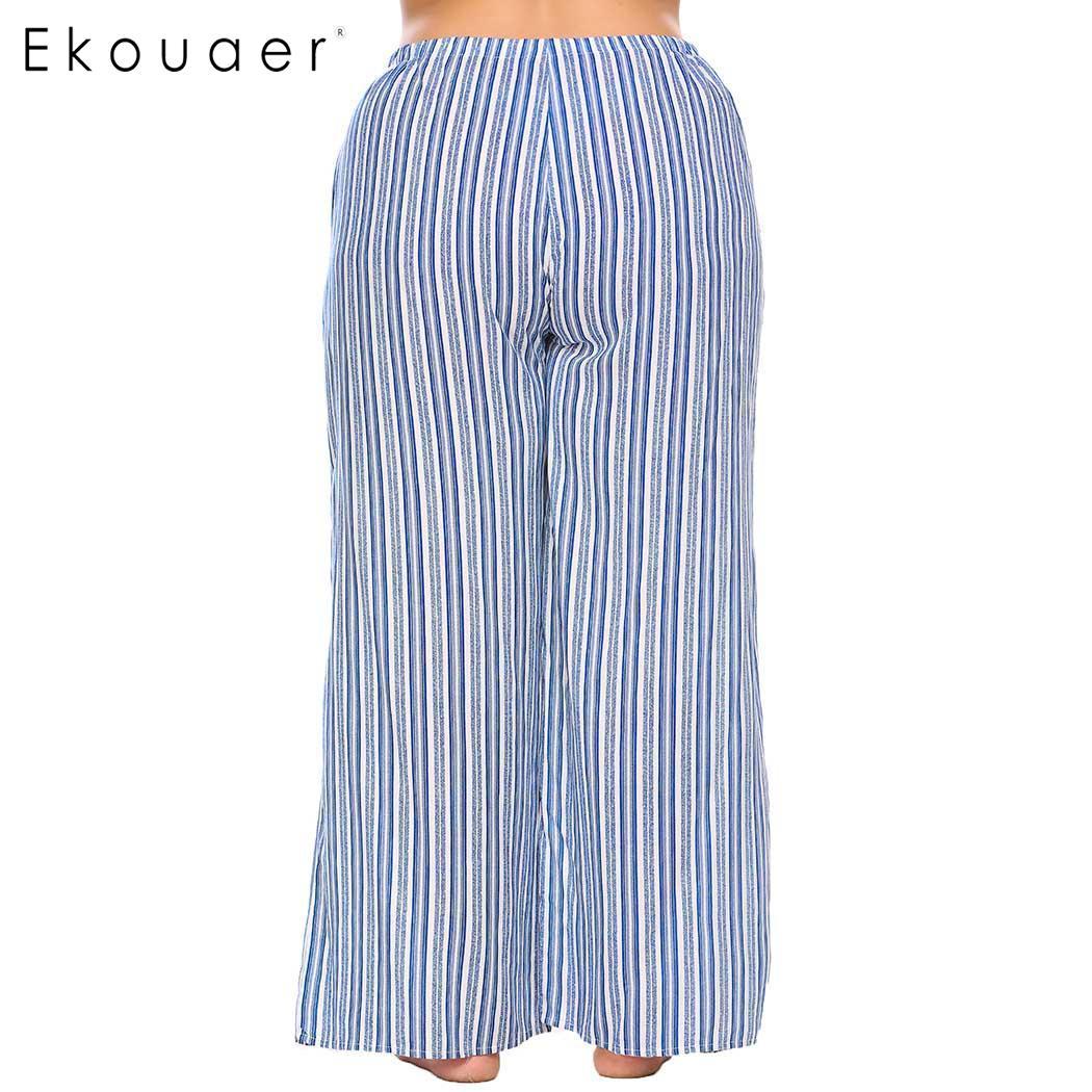 Ekouaer Sleepwear Women Drawstring Waist Striped Casual Loose Pajama Pants Plus Size