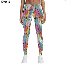 KYKU Brand 3D Colorful Leggings Feathers Printing Fitness Legging Elasticity Leggins High Waist Slim Sexy Legins Trouser Pants