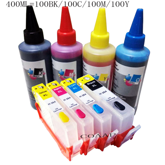 Compatible hp 364 refillable Ink cartridges + 400ml Dye inks for HP Photosmart 5510 5520 6510 6520 7510 7520 e-All-in-One