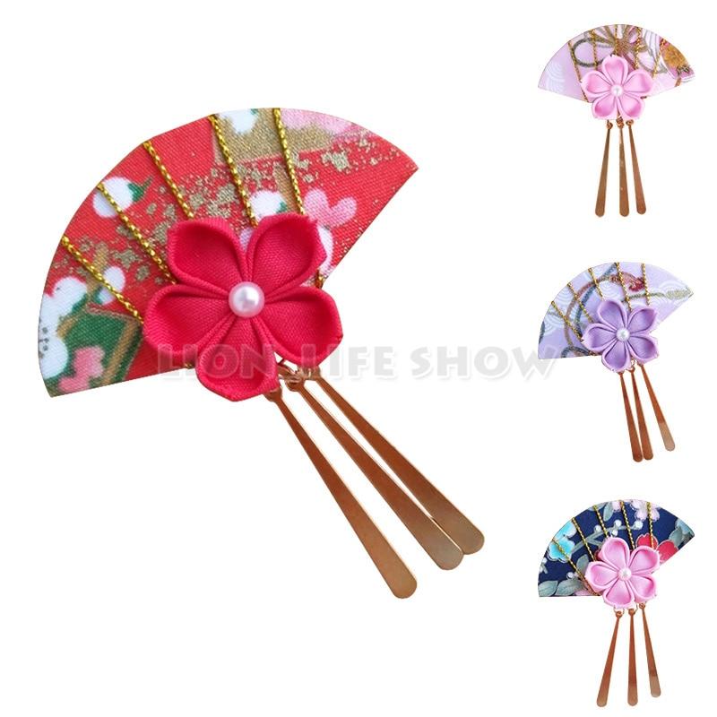 Japanese Flower Sakura Headwear Clip Haripin Hair kimono Yukata Tassels Cosplay