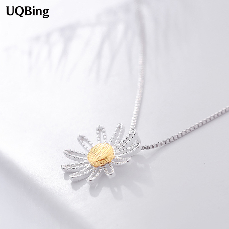 Drop Shipping 925 Sterling Silver NecklacesCute Flower Pendants&Necklaces Jewelry Collar Colar de Plata