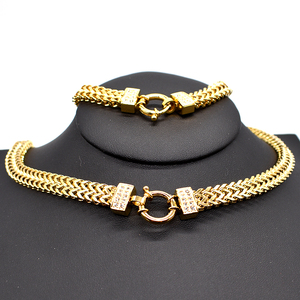 Image 3 - AMUMIU 2020 new arrival Men Chain Necklace Bracelet Sets Special Lock Stainless Steel Snake Women gold Color Jewellery HZTZ125
