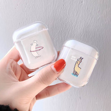 LAUGH LIFE Transparent Hard Luxury Earphone Case For Airpods Cases Cute Fun Grass Mud Horse Clear Apple Cover