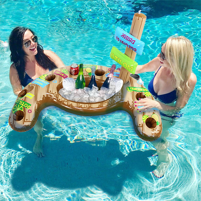 Pool Party Beverage Cooler Swim Up Bar Drink Cup Holder Inflatable Coasters Floating Water Fun Toys Picnic Salad Plate boia 3