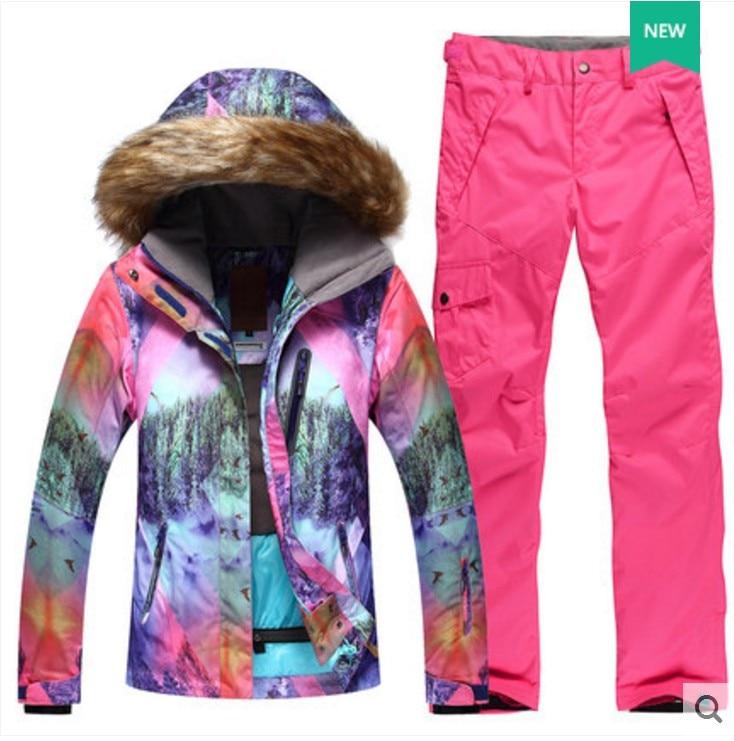 Women's pink ski suit female pink violet fur collar riding hiking snow ski jacket and pink ski pants winter outdoor sports suit толстовка сноубордическая shweyka fur hoodie turquoise violet