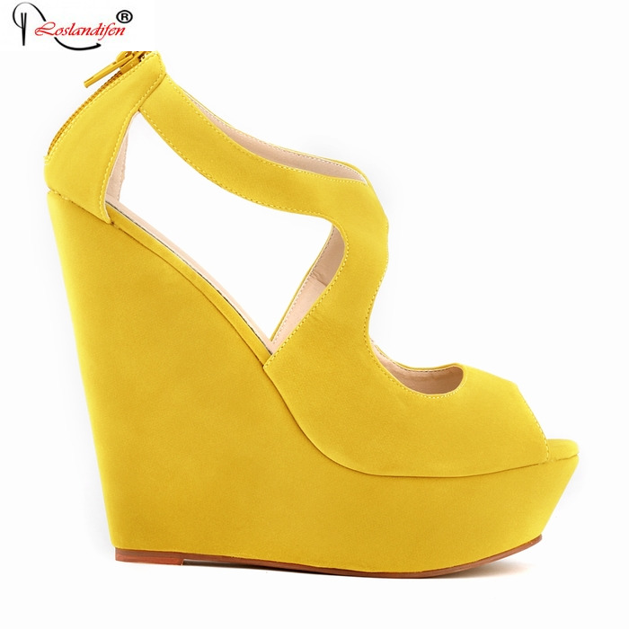 Women Wedges Platform High Heels Sandals 2017 Fashion Ankle Buckle Yellow Female Summer Sandal Thick Bottom Shoes SMYNLK-BA0036 woman fashion high heels sandals women genuine leather buckle summer shoes brand new wedges casual platform sandal gold silver