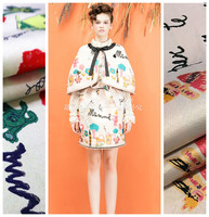 Color printing jacquard fabric autumn and winter crisp dress jacket diy fabric wholesale high quality cloth