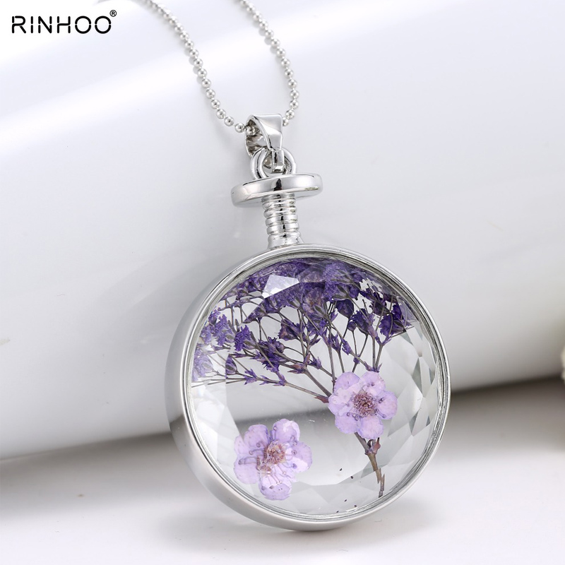 Dry Flower Necklace Pendant Silver Chain Circle Beauty New Glass Colorful Flower Pendant Necklaces For Women Best Special Gift