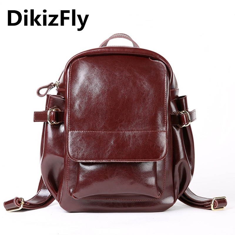 DikizFly Brand Fashion Backpacks for Teenage Girls Women Split Leather Backpacks School Bag Casual Solid Vintage Travel Backpack aequeen women backpack casual 2017 new solid corduroy simple backpacks school bags for teenage girls travel bag