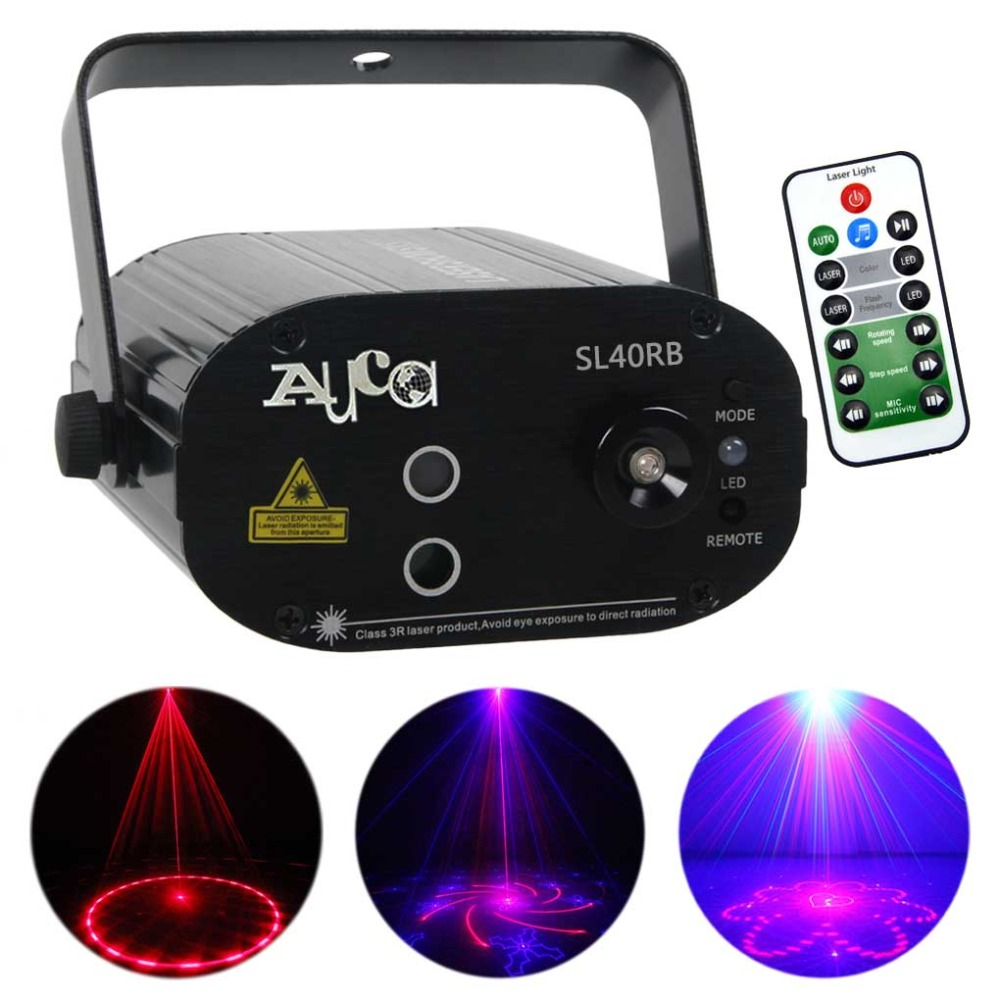 AUCD Mini 40RB Red Blue 3W LED Light Laser Effect Projector Holiday Birthday Decoration DJ Party Stage Lighting SL40RBAUCD Mini 40RB Red Blue 3W LED Light Laser Effect Projector Holiday Birthday Decoration DJ Party Stage Lighting SL40RB