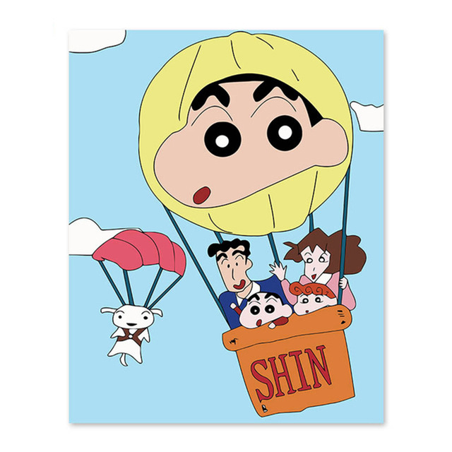 Japanese anime crayon new, family portrait, happiness, hot air balloon, white dog, thick eyebrows, cute, DIY digital painting