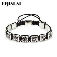 2017 Men Bracelet Antique Silver Square Beads 10*10mm Macrame Braiding Bracelets with Flower for Women Fashion Jewelry Best Gift