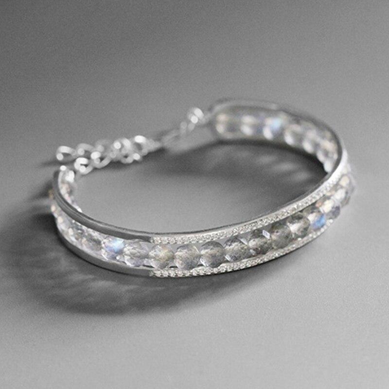 Lotos Fun Moment prawdziwe 925 Sterling Silver kamień naturalny biżuteria regulowany w stylu Vintage proste kamień bransoletka dla kobiet w Bransoletki od Biżuteria i akcesoria na  Grupa 3