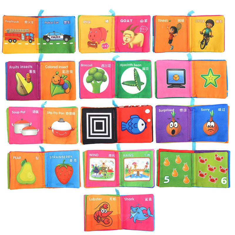 intelligence development cloth cognize book early educational learning books for kid baby fabric toys colorful book