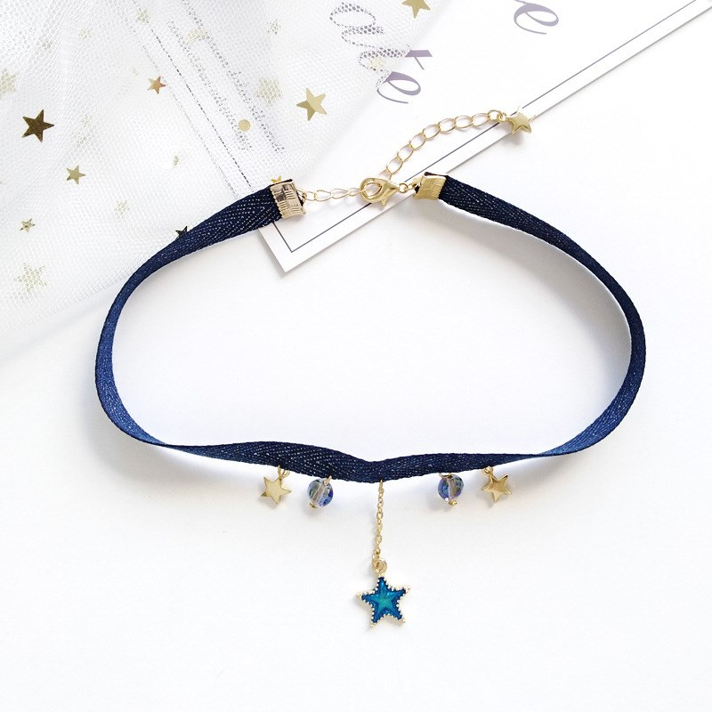 2018 Simple Design Sweet Cute Crystal Pendant Velvet Ribbon Rope Chocker Star Moon Earth Pendant Short Chocker Necklace in Pendant Necklaces from Jewelry Accessories