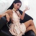 Correa de Espagueti Backless atractivo Del Club Del Mono de Seda Sofisticado Satén Traje de 3 Colores de Una sola Pieza de Los Mamelucos Womens Jumpsuit