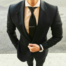 Formal Black Men Suits and Blazers 2019 Classic Groom Wedding Tuxedos Slim Fit Ivory Bridegroom Wear 2piece Evening Prom Party