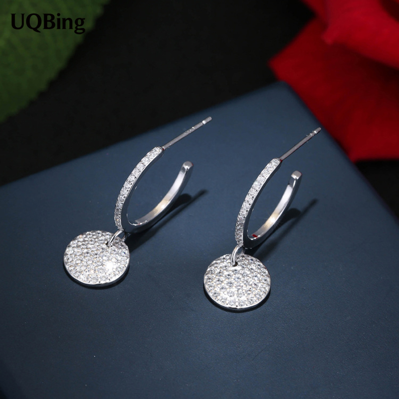 Europe Fashion 925 Sterling Silver Stud Earrings Round Full Rhinestone Crystal Stud Earrings For Women Jewelry