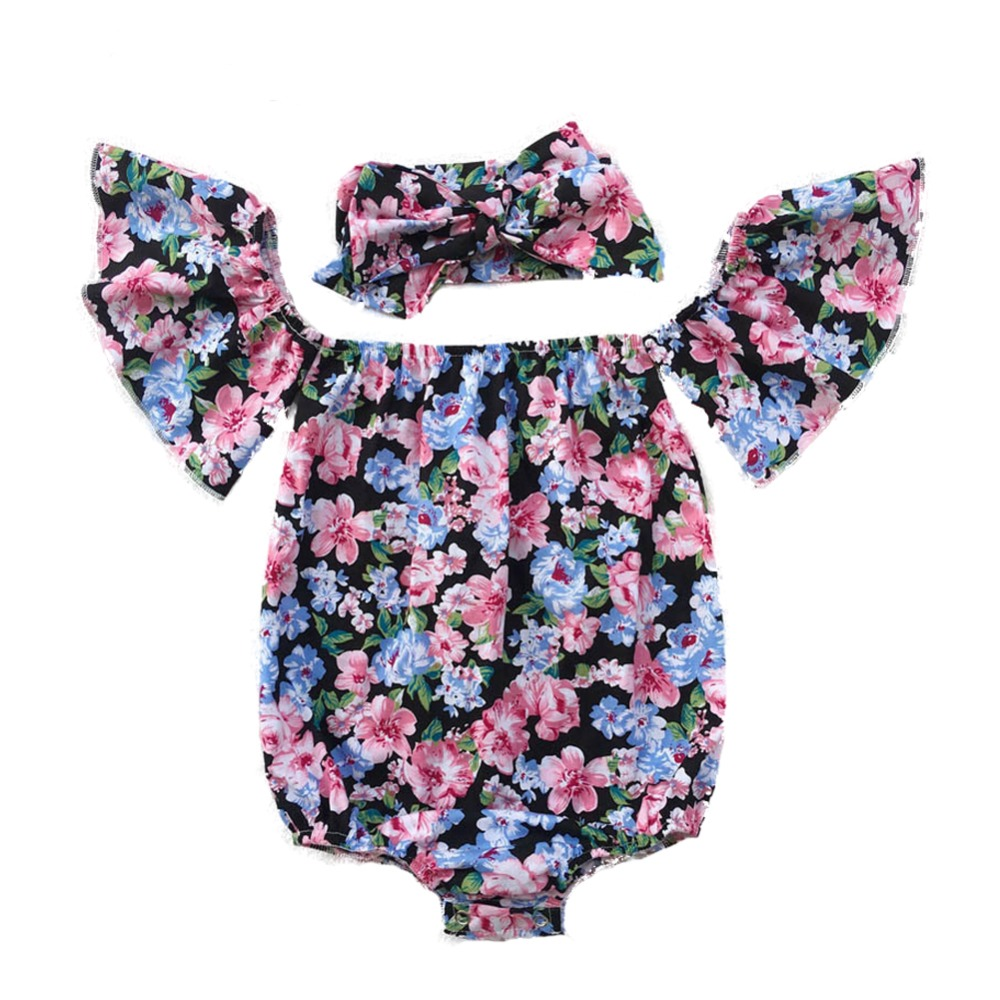 Summer Newborn Infant Baby Girl   Rompers   Floral Ruffles Off Shoulder   Rompers   for Kids Fashion Baby Clothing