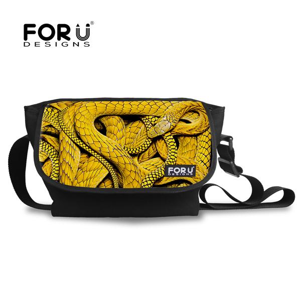 FORUDESIGNS de serpiente más nueva escuela para niños niñas hombres viajan bolsas de lona bolsas de hombro crossbody bolsas para estudiantes