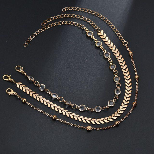 MissCyCy Fashion Crystal Anklet Set Vintage Handmade Ankle Bracelet for Women Party Summer Beach Accessories 3Pcs/Set 2