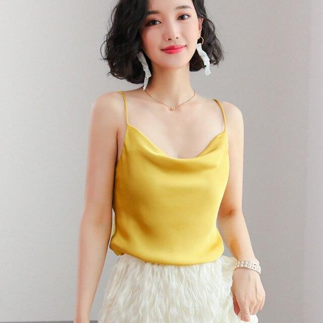 2019 Đơn Giản Sexy Vàng Satin Điệu Phụ Nữ Hàn Quốc Sexy Không Tay Satin Tanks Tops Lady Silk Điệu Phụ Nữ Không Tay Lụa