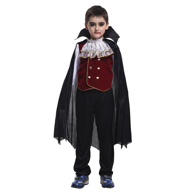 VASHEJIANG Kids Vampire Costume Children's Halloween carnival Costume for Kids Boys Vampire Cosplay Set