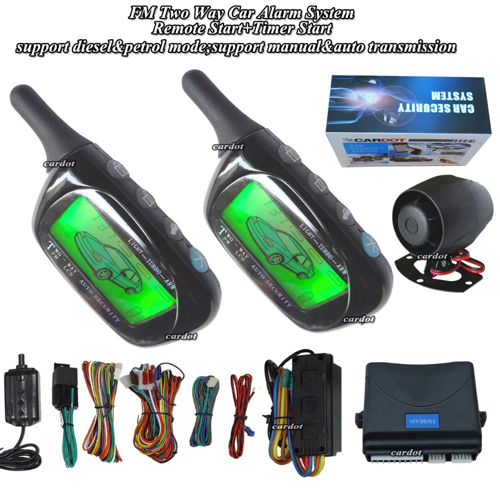 Système d'alarme de voiture à 2 voies avec télécommande d'alarme LCD module de démarrage extérieur alarme de capteur de choc +/-option de porte latérale verrouillage central