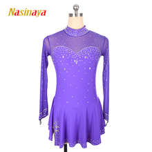 Customized Costume Ice Skating Figure Skating Dress Gymnastics Adult Child Girl Skirt Competition violet Rhinestone button customized costume ice figure skating dress gymnastics competition white adult child performance blue rhinestone sleeveless