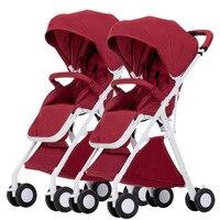 Детские коляски для близнецов Тележки Двойной коляска
