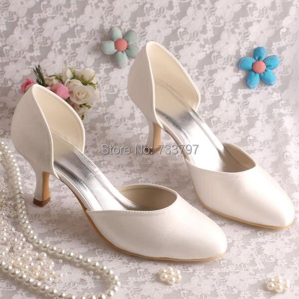 (20 Colors)Beige Satin 6.5CM Heel Women Pumps Brand for Wedding Party Plain Upper