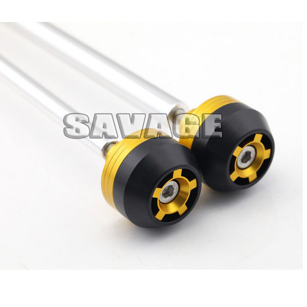 For YAMAHA FJ-09 MT-09 2014-2015 Golden CNC Aluminum Front & Rear Axle Fork Crash Sliders Wheel Protector