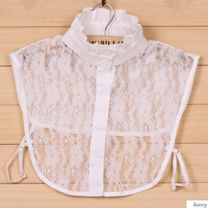 Women Pure Color Lace Detachable Lapel Choker Necklace Shirt Fake False Collar Lapel Blouse