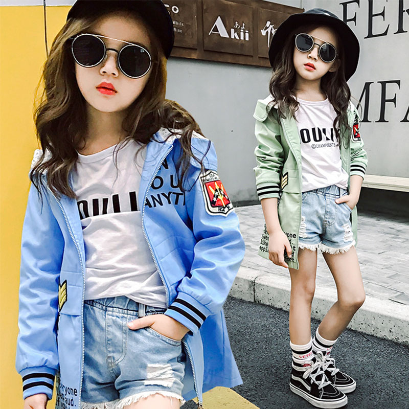 cotton spring autumn trench girls coats outwear hooded letters printing long windbreaker kids jacket green pink teenager clothes teenager girl dot trench coat outwear kids hooded clothes spring and autumn jacket children s clothing 15380421
