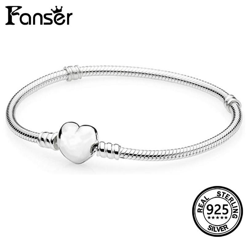 FANSER Heat shape Snake Hand chain Geniune 100% Sterling Silver 925 Pandor Original Copy 1;1 Elegant ladys Bracelet Fashion