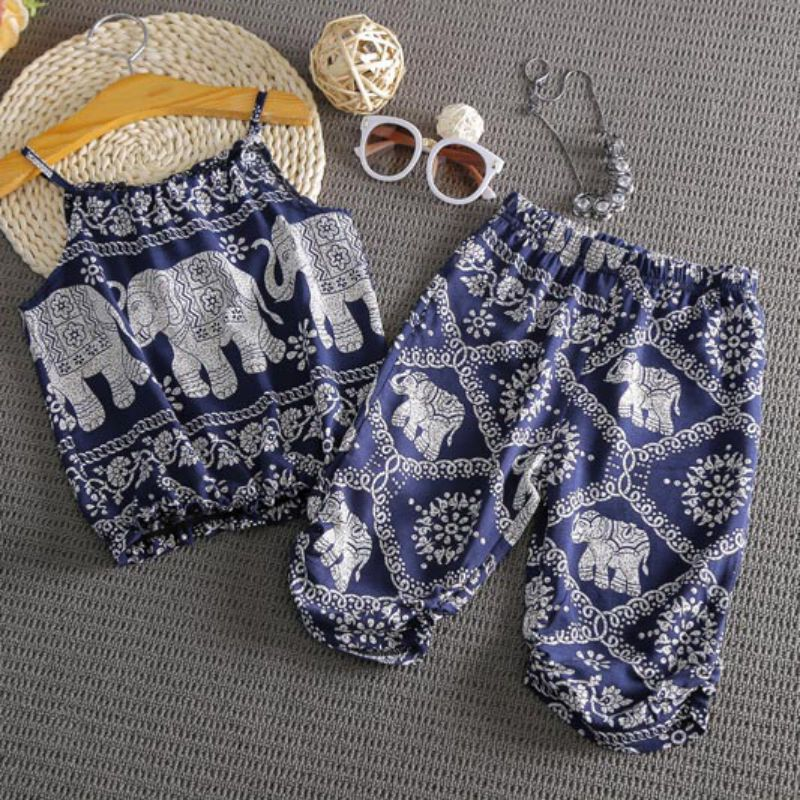 Children Girls 2 Pcs Elephant Prnted Summer Clothing Sets Crop Top+Floral Pants Child Sling Suit Loose Suit Girls Clothes 2018 checkered baby sling suit summer